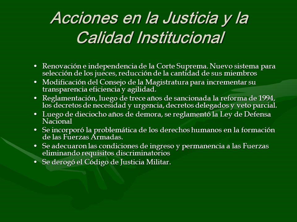 Acciones en la Justicia y la Calidad Institucional Renovación e independencia de la Corte Suprema. Nuevo sistema para selección de los jueces, reducci