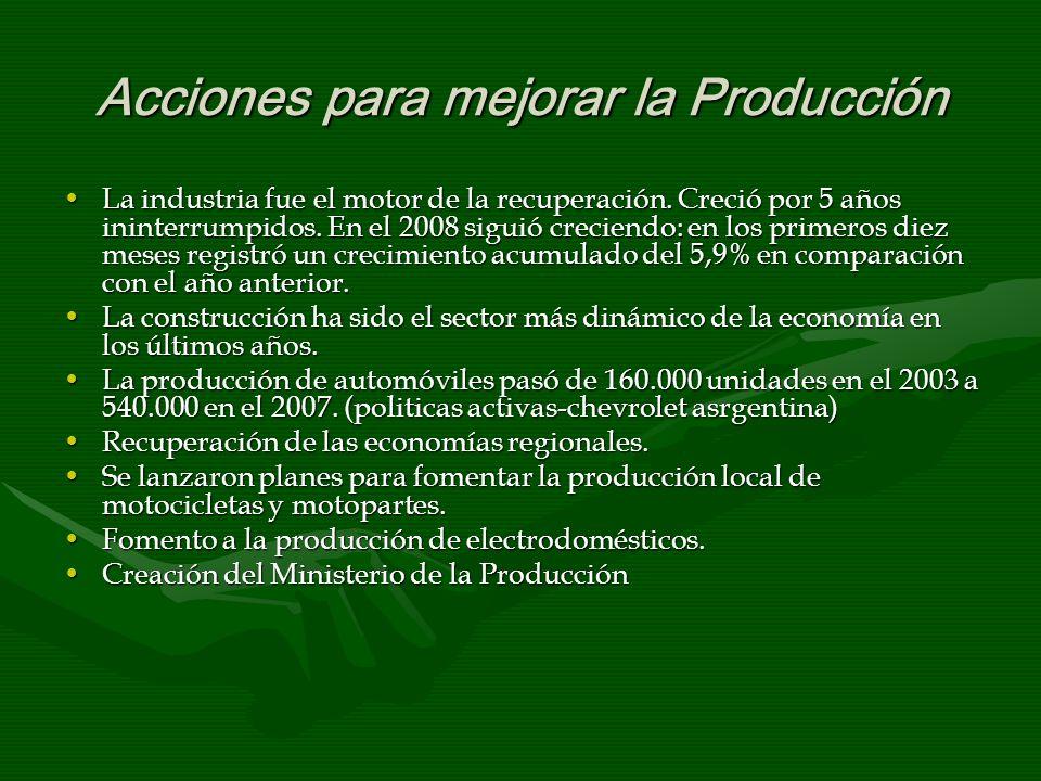 Acciones para mejorar la Producción La industria fue el motor de la recuperación. Creció por 5 años ininterrumpidos. En el 2008 siguió creciendo: en l