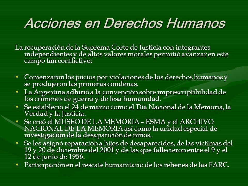 Acciones en Derechos Humanos La recuperación de la Suprema Corte de Justicia con integrantes independientes y de altos valores morales permitió avanza