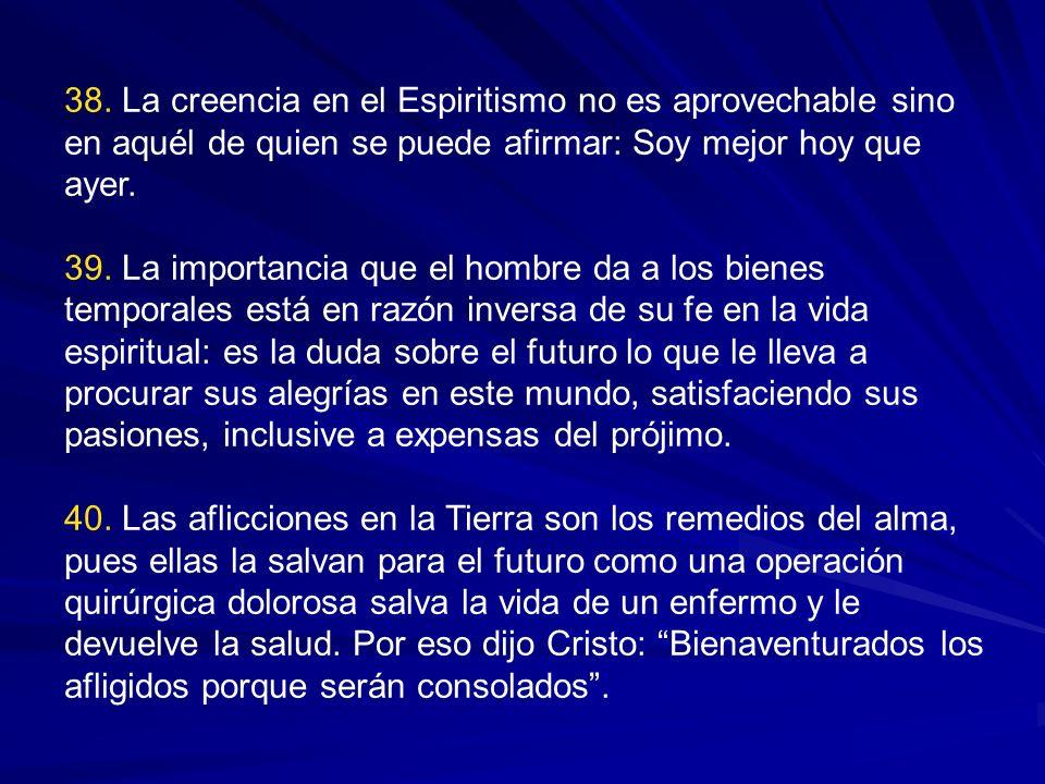 35. El objeto esencial del Espiritismo es el mejoramiento de los hombres. No es necesario procurar sino lo que puede ayudar al progreso moral e intele