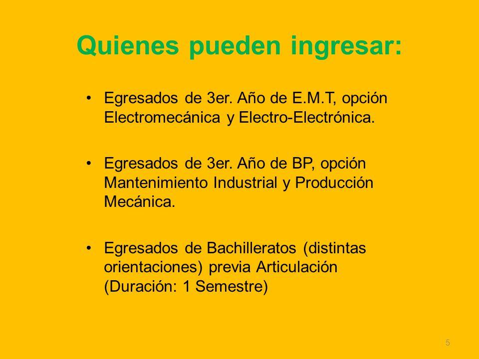 Quienes pueden ingresar: Egresados de 3er. Año de E.M.T, opción Electromecánica y Electro-Electrónica. Egresados de 3er. Año de BP, opción Mantenimien