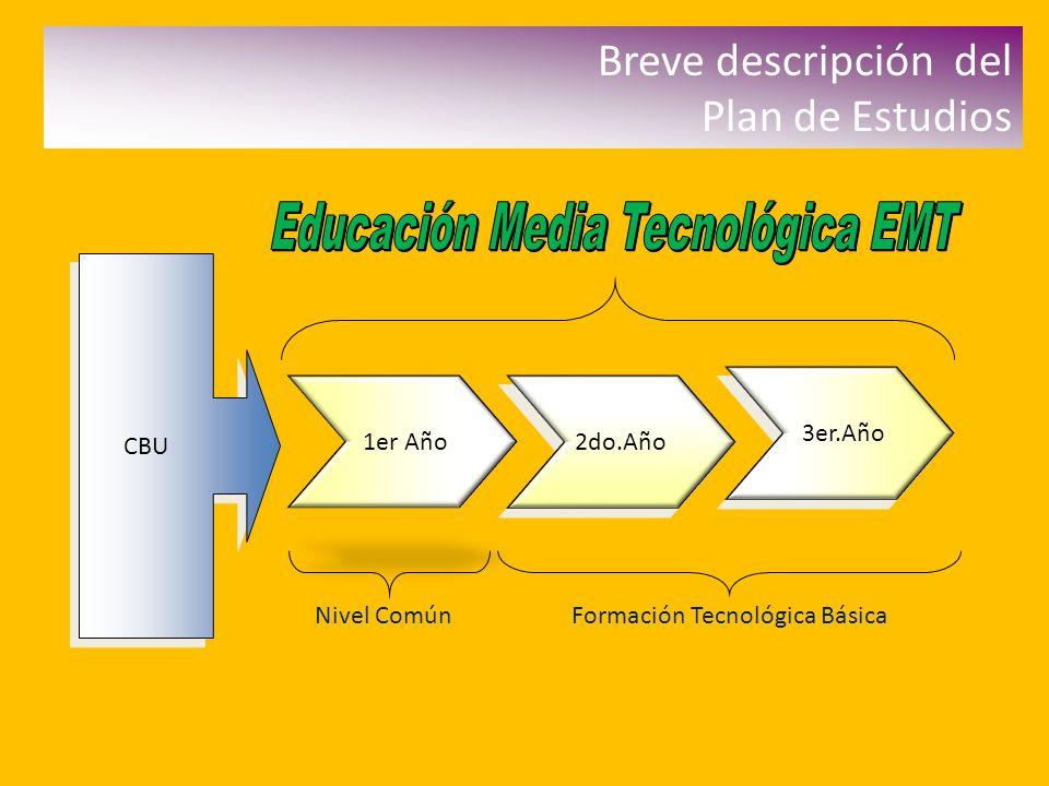 Breve descripción del Plan de Estudios CBU 1er Año 2do.Año 3er.Año Nivel ComúnFormación Tecnológica Básica