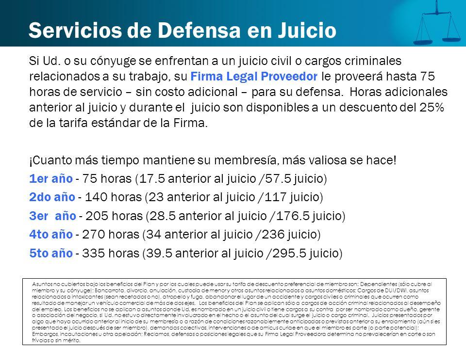 Servicios de Defensa en Juicio Si Ud. o su cónyuge se enfrentan a un juicio civil o cargos criminales relacionados a su trabajo, su Firma Legal Provee