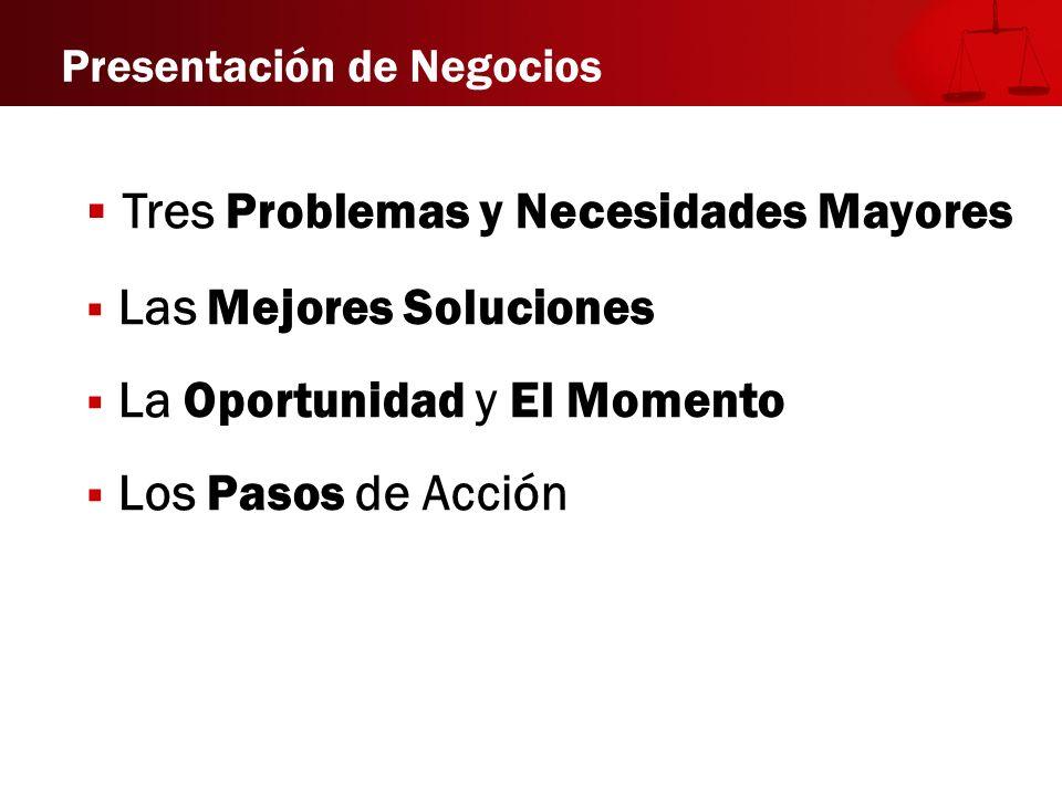 Tres Problemas y Necesidades Mayores Las Mejores Soluciones La Oportunidad y El Momento Los Pasos de Acción Presentación de Negocios