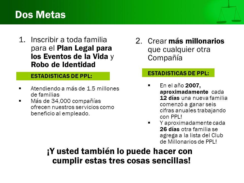 Dos Metas 2. Crear más millonarios que cualquier otra Compañía ESTADISTICAS DE PPL: En el año 2007, aproximadamente cada 12 días una nueva familia com