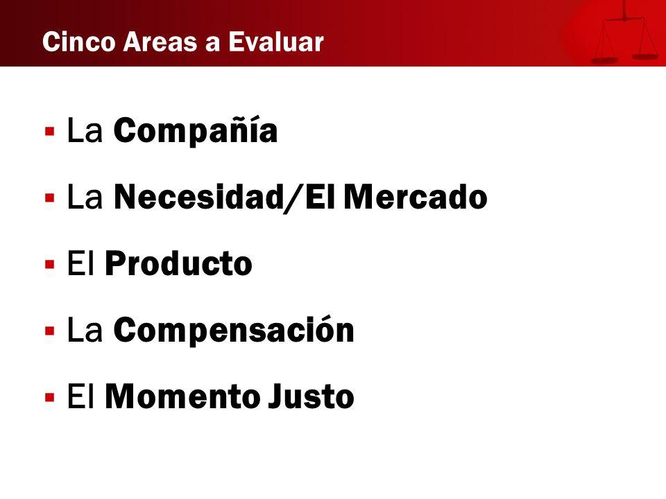 Cinco Areas a Evaluar La Compañía La Necesidad/El Mercado El Producto La Compensación El Momento Justo