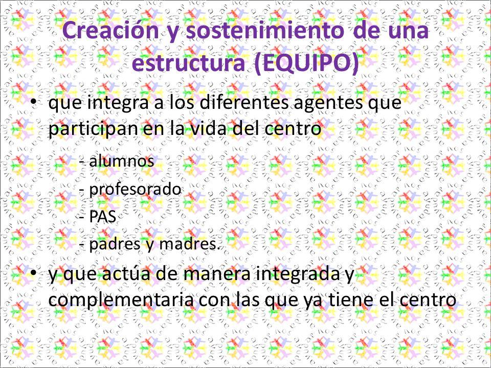 Creación y sostenimiento de una estructura (EQUIPO) que integra a los diferentes agentes que participan en la vida del centro - alumnos - profesorado