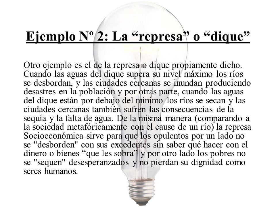 Ejemplo Nº 2: La represa o dique Otro ejemplo es el de la represa o dique propiamente dicho.