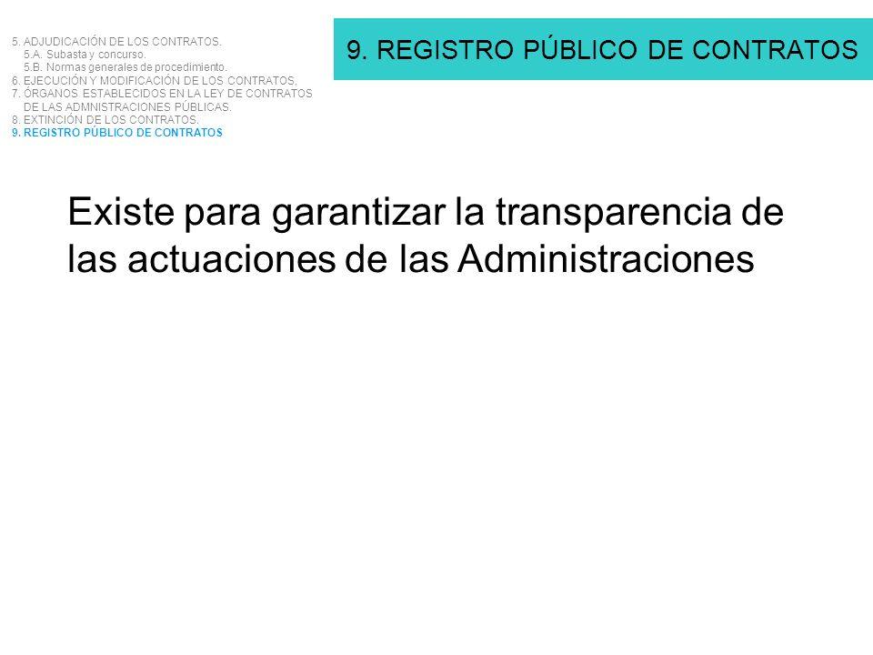 9. REGISTRO PÚBLICO DE CONTRATOS 5. ADJUDICACIÓN DE LOS CONTRATOS. 5.A. Subasta y concurso. 5.B. Normas generales de procedimiento. 6. EJECUCIÓN Y MOD