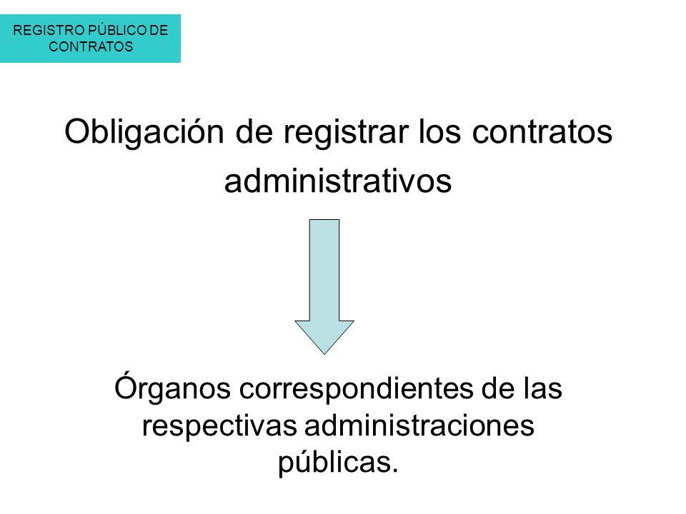 Órganos correspondientes de las respectivas administraciones públicas. Obligación de registrar los contratos administrativos REGISTRO PÚBLICO DE CONTR