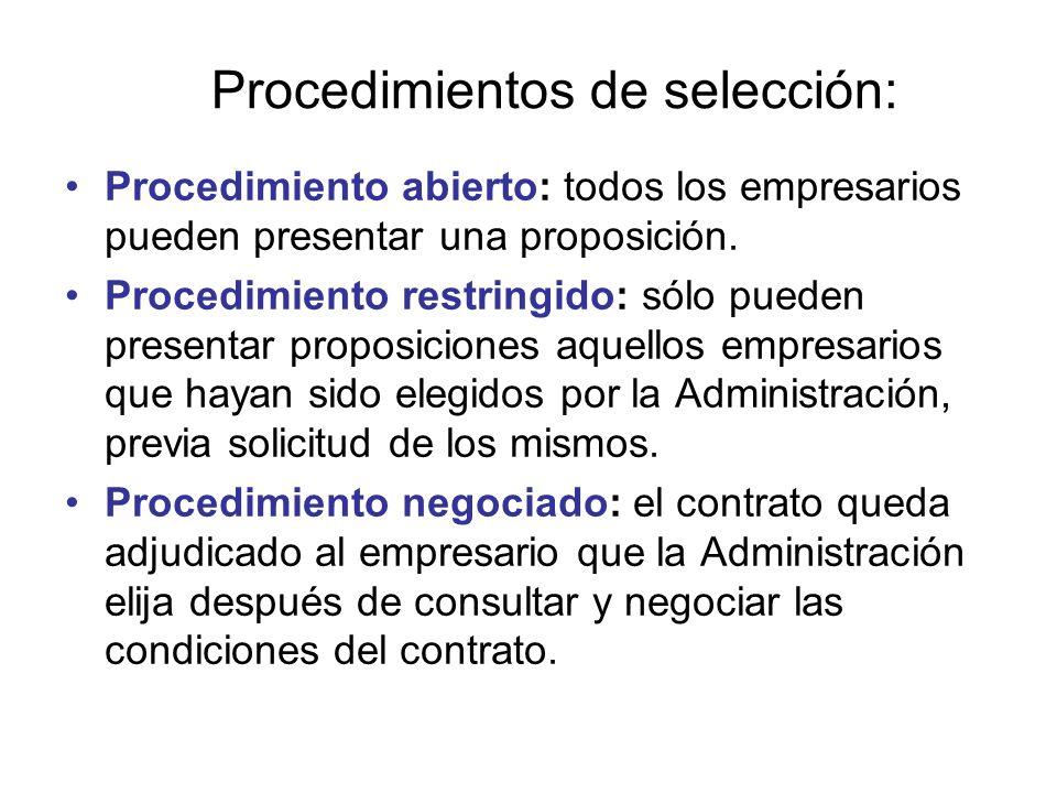 Procedimientos de selección: Procedimiento abierto: todos los empresarios pueden presentar una proposición. Procedimiento restringido: sólo pueden pre