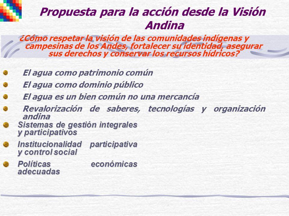 Propuesta para la acción desde la Visión Andina ¿Cómo respetar la visión de las comunidades indígenas y campesinas de los Andes, fortalecer su identid