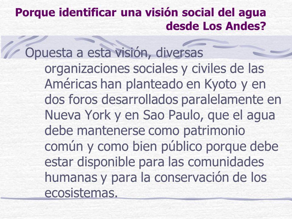 Porque identificar una visión social del agua desde Los Andes? Opuesta a esta visión, diversas organizaciones sociales y civiles de las Américas han p