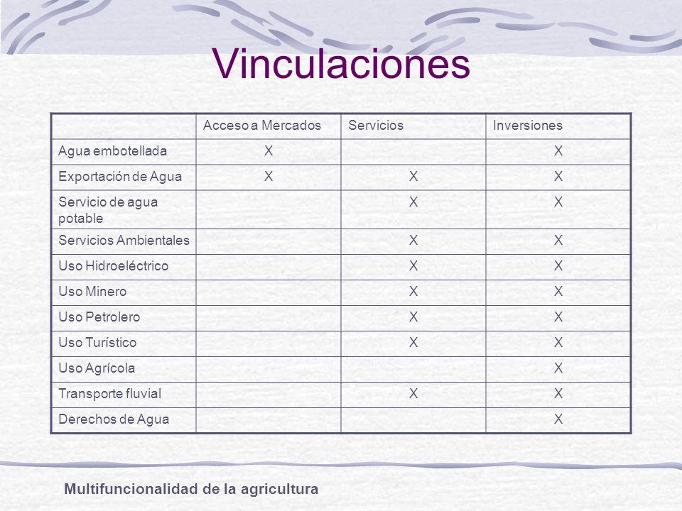 Vinculaciones Acceso a MercadosServiciosInversiones Agua embotelladaXX Exportación de AguaXXX Servicio de agua potable XX Servicios AmbientalesXX Uso