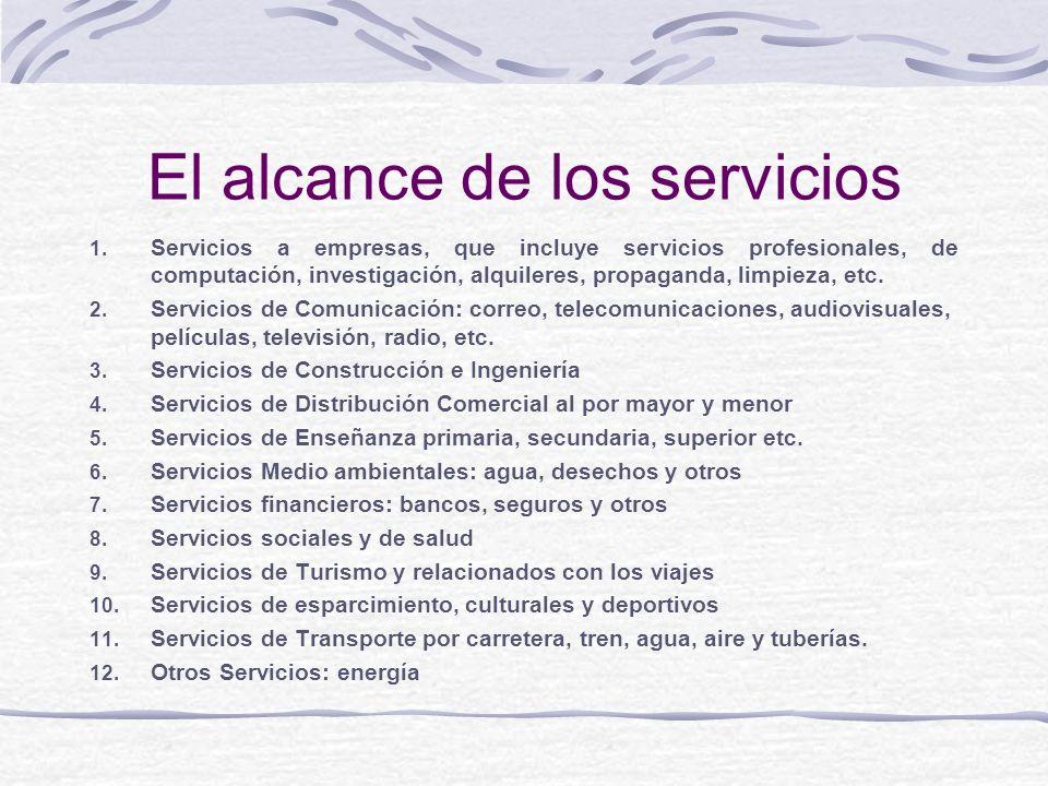 El alcance de los servicios 1. Servicios a empresas, que incluye servicios profesionales, de computación, investigación, alquileres, propaganda, limpi