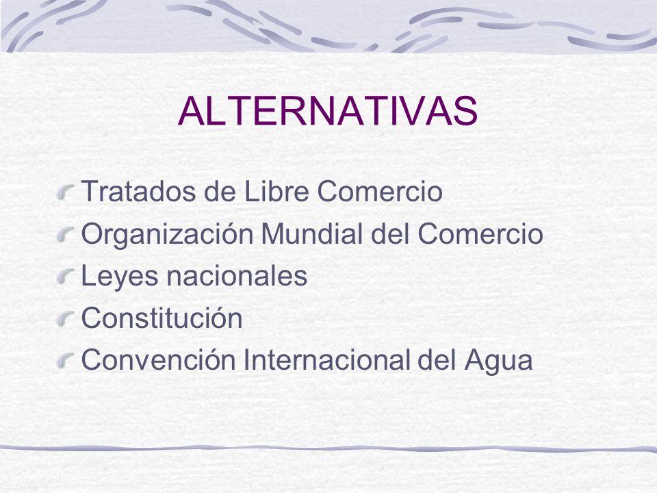ALTERNATIVAS Tratados de Libre Comercio Organización Mundial del Comercio Leyes nacionales Constitución Convención Internacional del Agua
