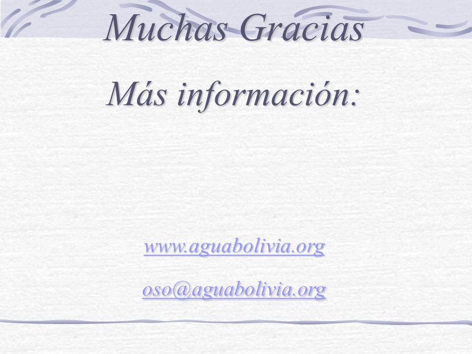 Muchas Gracias Más información: www.aguabolivia.org oso@aguabolivia.org www.aguabolivia.org oso@aguabolivia.org