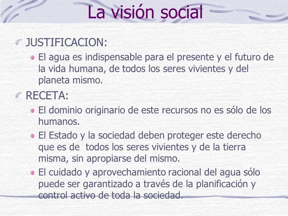 La visión social JUSTIFICACION: El agua es indispensable para el presente y el futuro de la vida humana, de todos los seres vivientes y del planeta mi