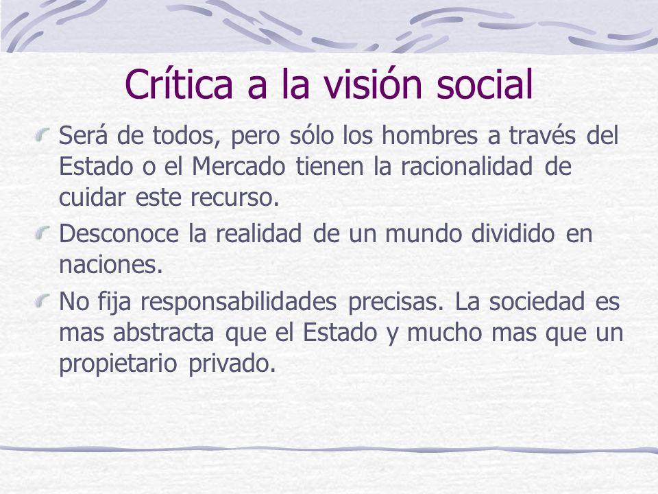 Crítica a la visión social Será de todos, pero sólo los hombres a través del Estado o el Mercado tienen la racionalidad de cuidar este recurso. Descon