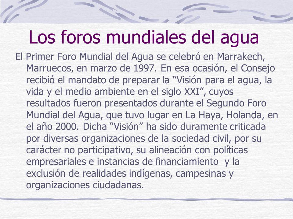 Los foros mundiales del agua El Primer Foro Mundial del Agua se celebró en Marrakech, Marruecos, en marzo de 1997. En esa ocasión, el Consejo recibió
