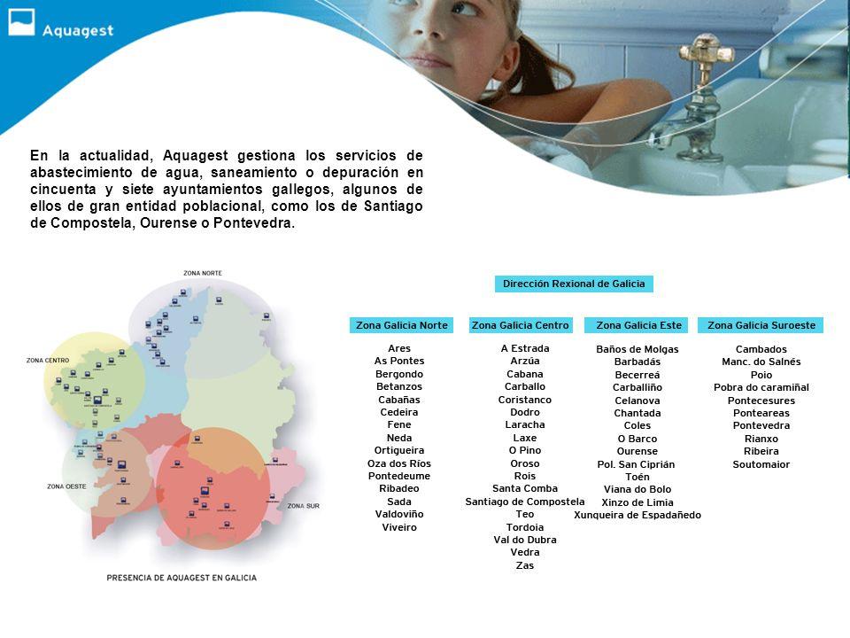 En la actualidad, Aquagest gestiona los servicios de abastecimiento de agua, saneamiento o depuración en cincuenta y siete ayuntamientos gallegos, algunos de ellos de gran entidad poblacional, como los de Santiago de Compostela, Ourense o Pontevedra.
