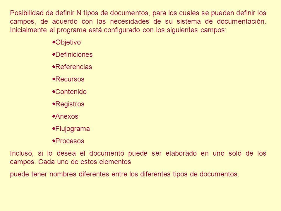 Posibilidad de definir N tipos de documentos, para los cuales se pueden definir los campos, de acuerdo con las necesidades de su sistema de documentac