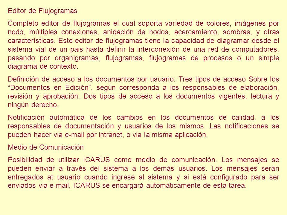 Editor de Flujogramas Completo editor de flujogramas el cual soporta variedad de colores, imágenes por nodo, múltiples conexiones, anidación de nodos,