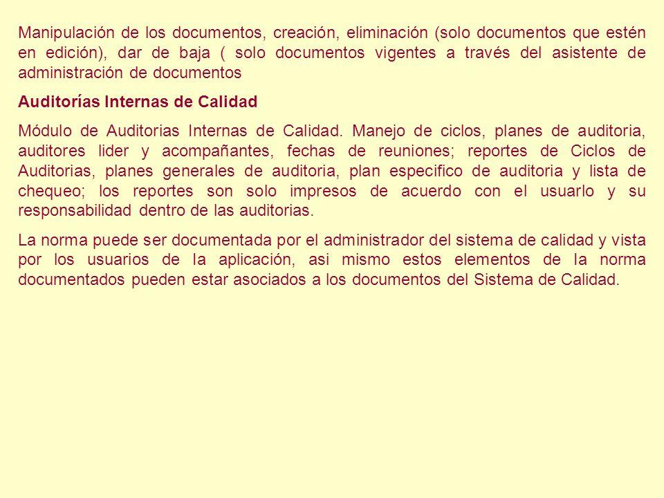 Manipulación de los documentos, creación, eliminación (solo documentos que estén en edición), dar de baja ( solo documentos vigentes a través del asis