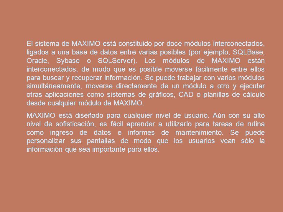 El sistema de MAXIMO está constituido por doce módulos interconectados, ligados a una base de datos entre varias posibles (por ejemplo, SQLBase, Oracl