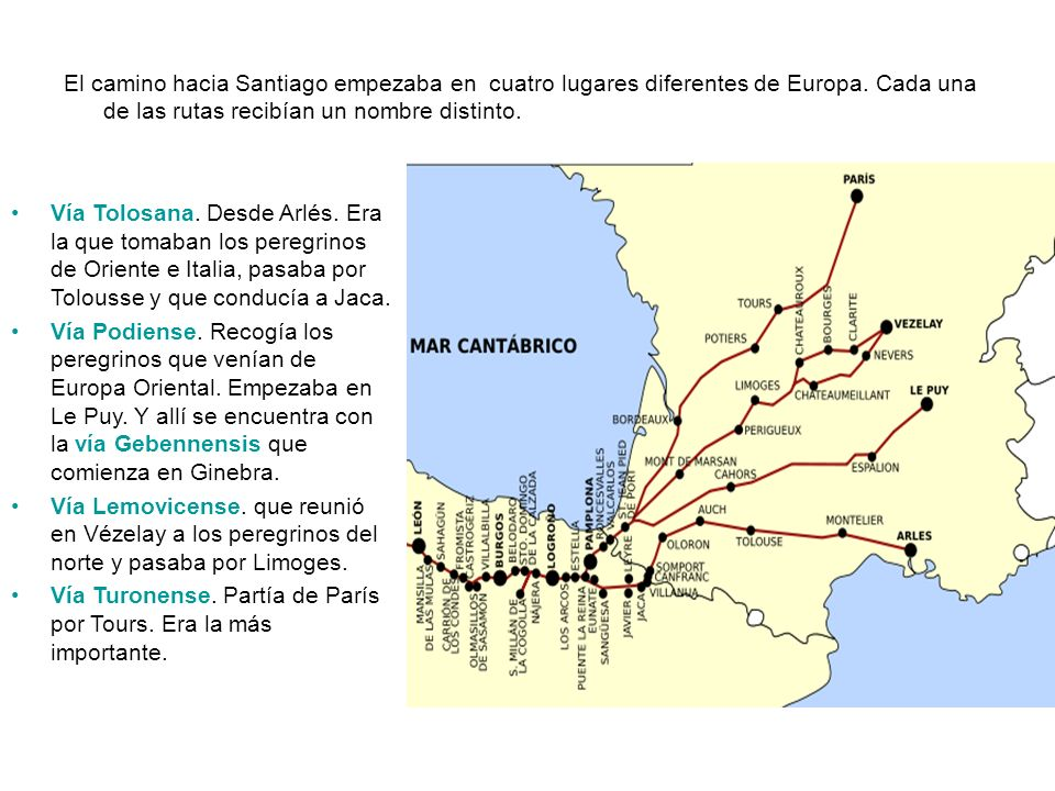 El camino hacia Santiago empezaba en cuatro lugares diferentes de Europa. Cada una de las rutas recibían un nombre distinto. Vía Tolosana. Desde Arlés