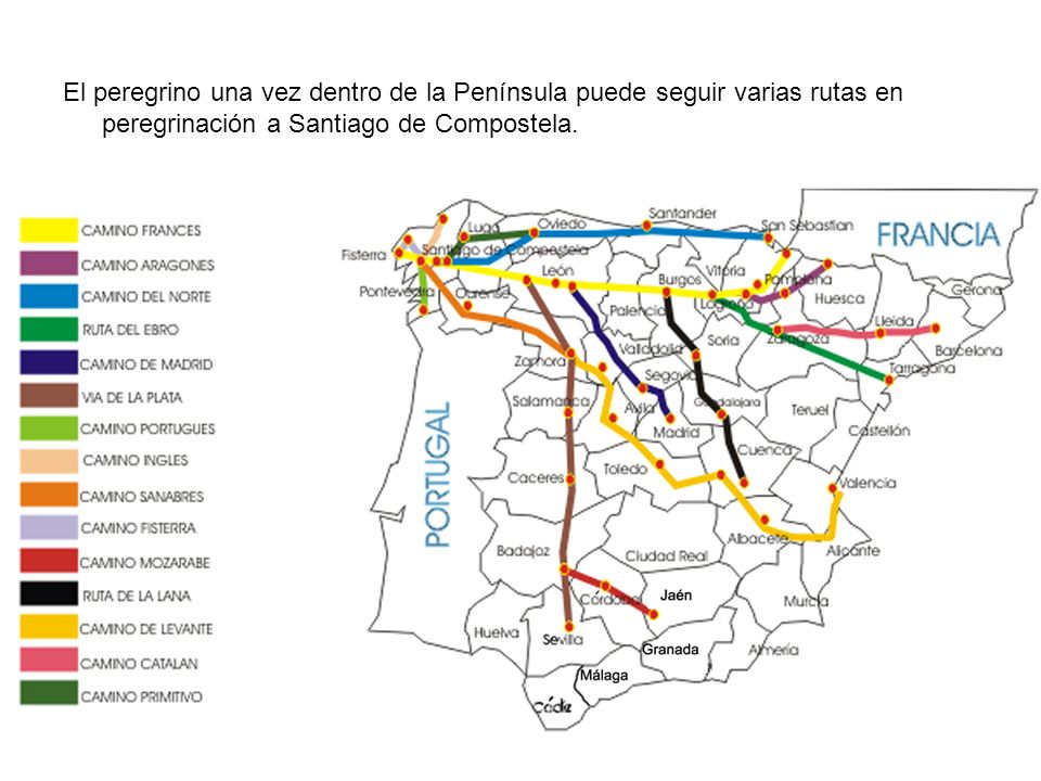 El peregrino una vez dentro de la Península puede seguir varias rutas en peregrinación a Santiago de Compostela.