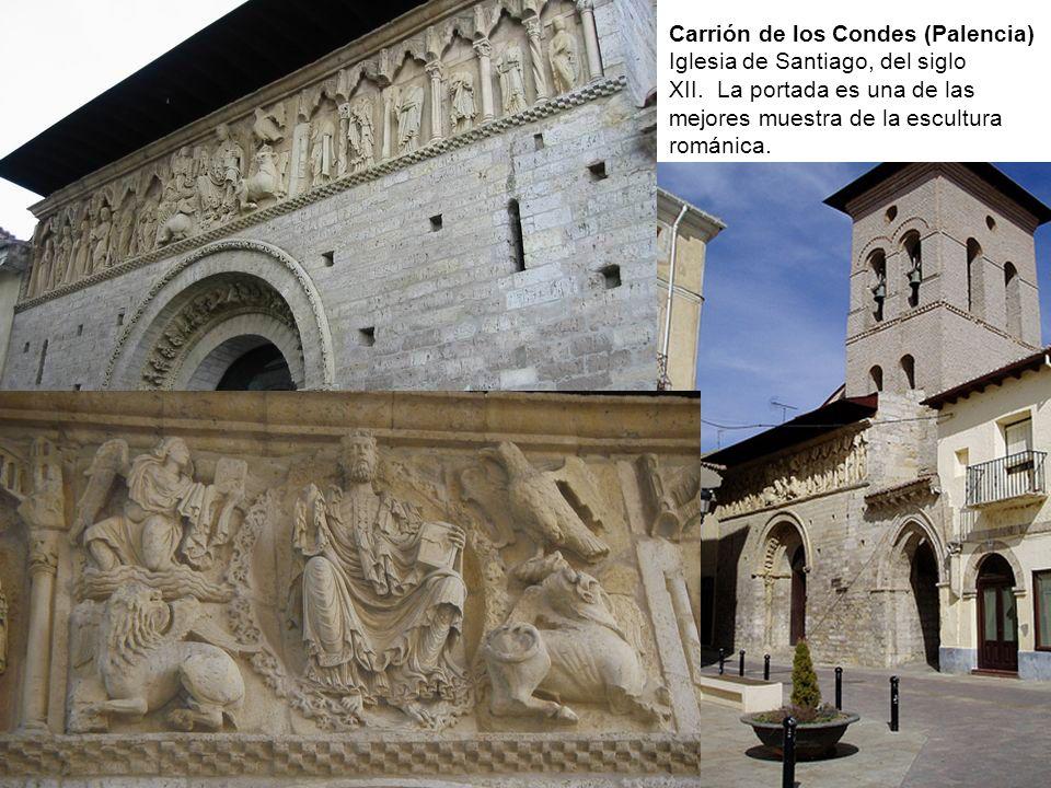 Carrión de los Condes (Palencia) Iglesia de Santiago, del siglo XII. La portada es una de las mejores muestra de la escultura románica.
