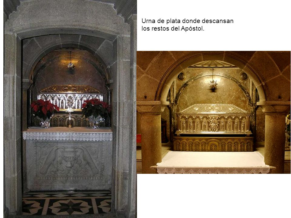 Urna de plata donde descansan los restos del Apóstol.