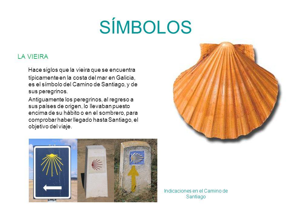 SÍMBOLOS LA VIEIRA Hace siglos que la vieira que se encuentra típicamente en la costa del mar en Galicia, es el símbolo del Camino de Santiago, y de s