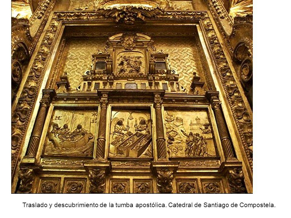Traslado y descubrimiento de la tumba apostólica. Catedral de Santiago de Compostela.