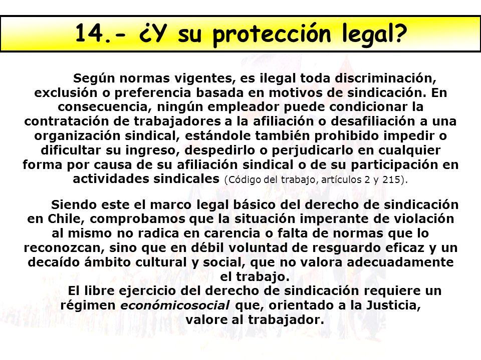 Según normas vigentes, es ilegal toda discriminación, exclusión o preferencia basada en motivos de sindicación. En consecuencia, ningún empleador pued