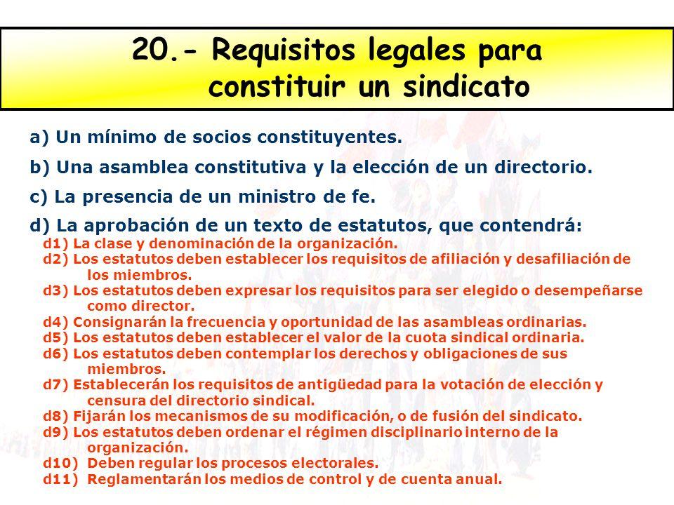 20.- Requisitos legales para constituir un sindicato a) Un mínimo de socios constituyentes. b) Una asamblea constitutiva y la elección de un directori