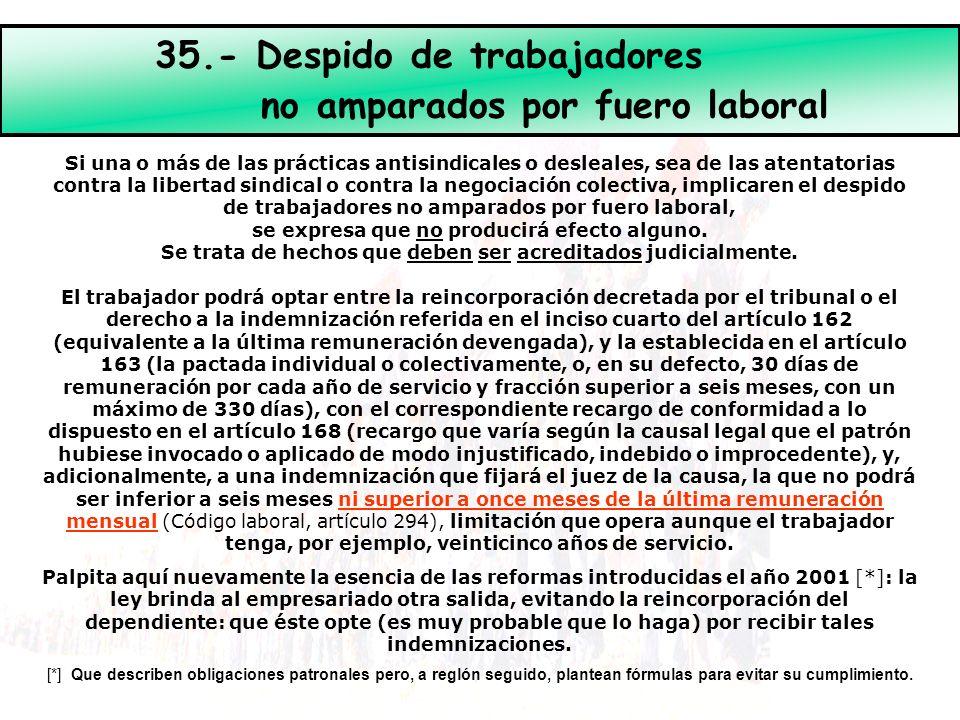 35.- Despido de trabajadores no amparados por fuero laboral Si una o más de las prácticas antisindicales o desleales, sea de las atentatorias contra l