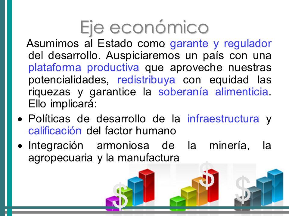 Eje económico Asumimos al Estado como garante y regulador del desarrollo.