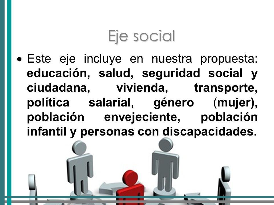 Eje social Este eje incluye en nuestra propuesta: educación, salud, seguridad social y ciudadana, vivienda, transporte, política salarial, género (mujer), población envejeciente, población infantil y personas con discapacidades.
