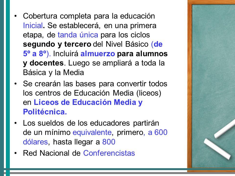 Cobertura completa para la educación Inicial.
