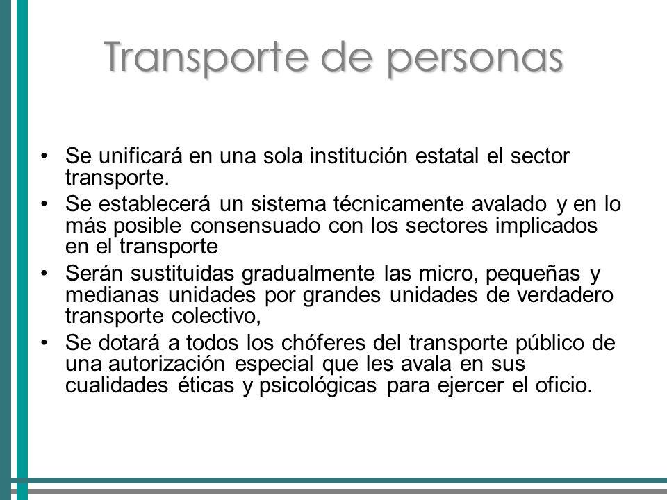 Transporte de personas Se unificará en una sola institución estatal el sector transporte.