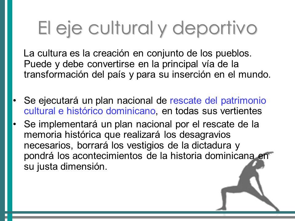 El eje cultural y deportivo La cultura es la creación en conjunto de los pueblos.