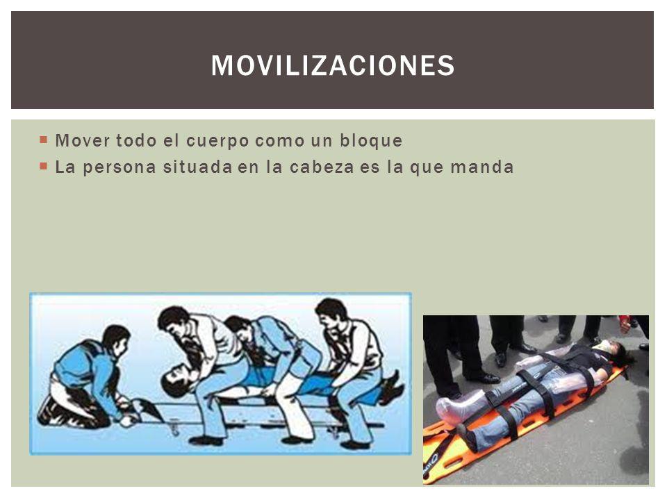 Mover todo el cuerpo como un bloque La persona situada en la cabeza es la que manda MOVILIZACIONES
