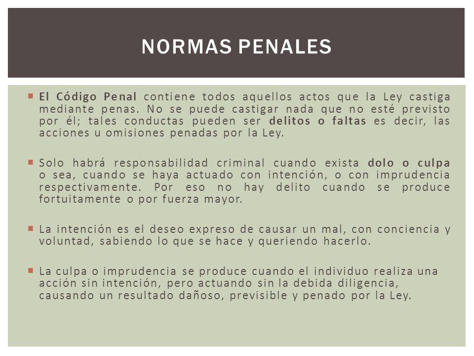El Código Penal contiene todos aquellos actos que la Ley castiga mediante penas. No se puede castigar nada que no esté previsto por él; tales conducta