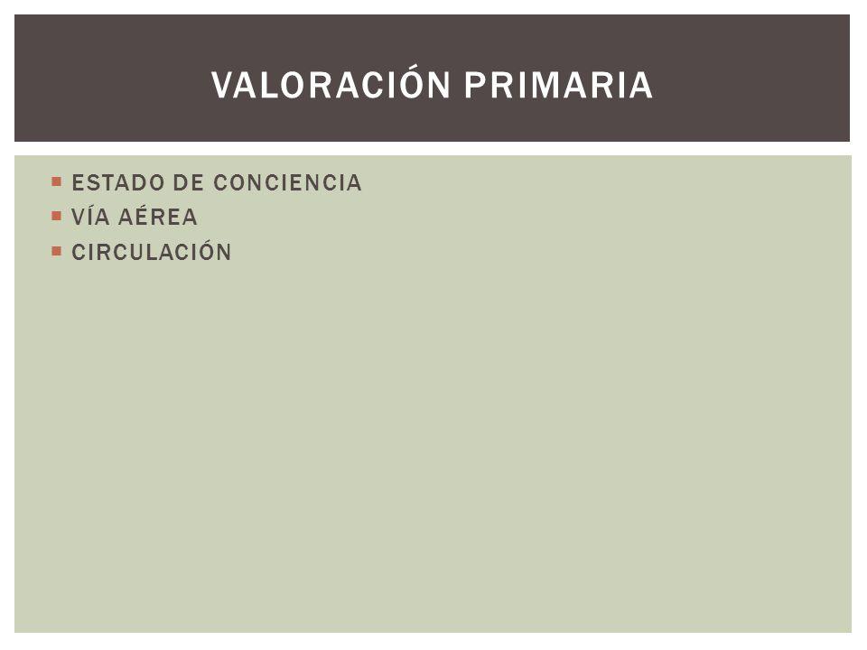 ESTADO DE CONCIENCIA VÍA AÉREA CIRCULACIÓN VALORACIÓN PRIMARIA
