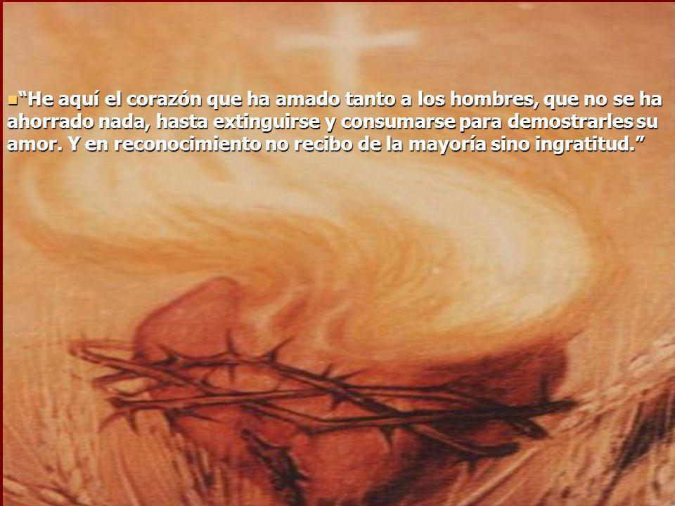 En 1675, durante la octava del Corpus Christi, Jesús se le manifestó con el corazón abierto, y señalando con la mano su corazón, exclamó: En 1675, dur