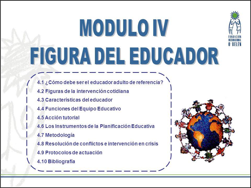 4.1 ¿Cómo debe ser el educador adulto de referencia? 4.2 Figuras de la intervención cotidiana 4.3 Características del educador 4.4 Funciones del Equip