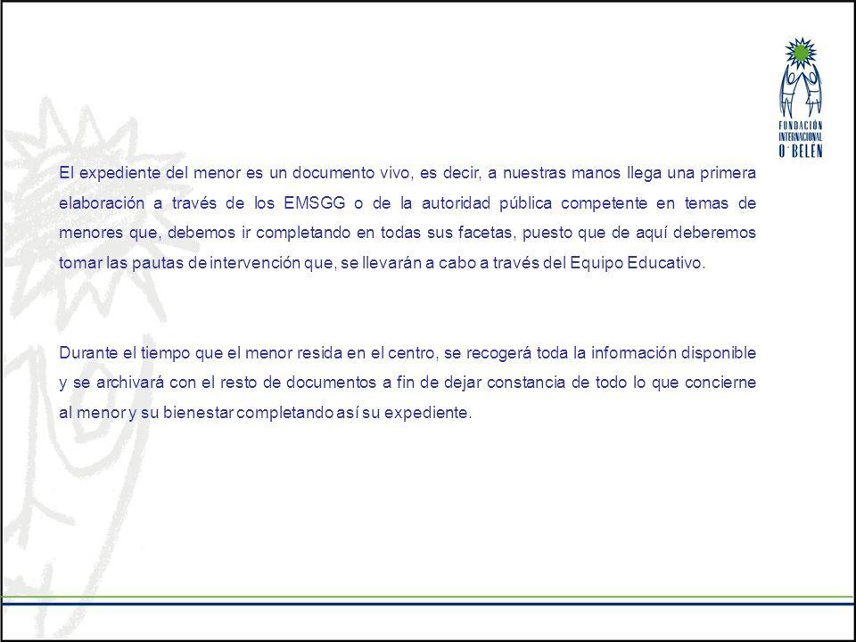 El expediente del menor es un documento vivo, es decir, a nuestras manos llega una primera elaboración a través de los EMSGG o de la autoridad pública