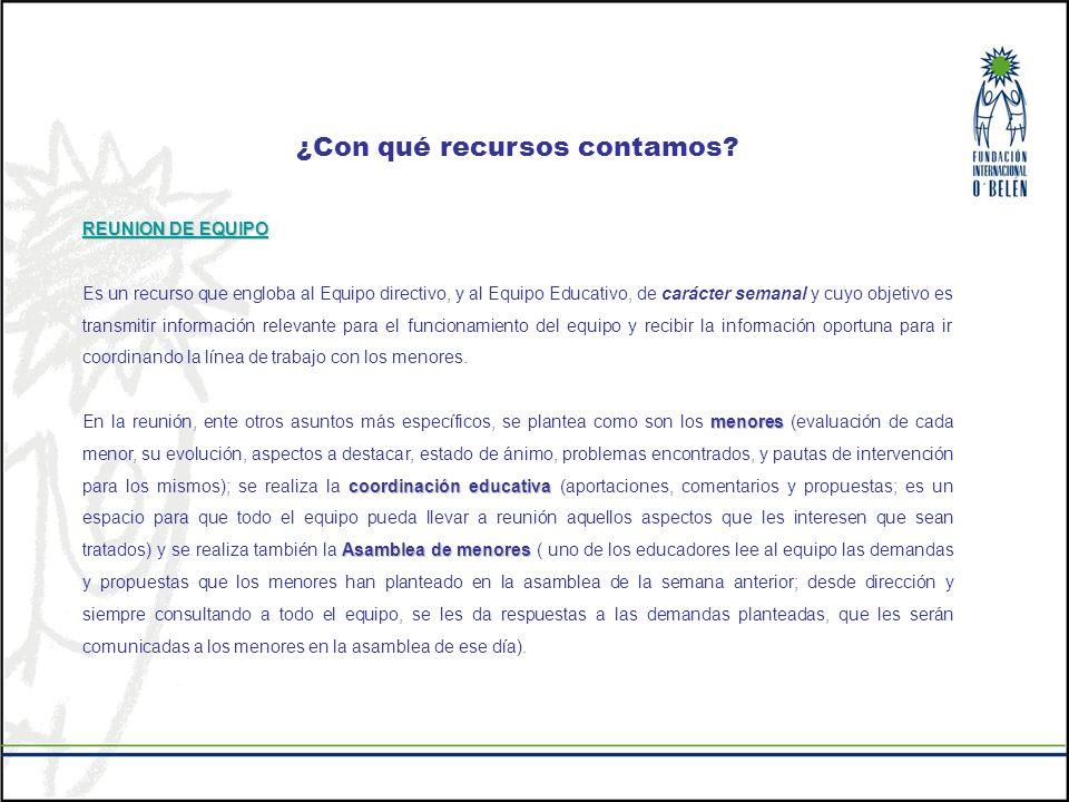 ¿Con qué recursos contamos? REUNION DE EQUIPO Es un recurso que engloba al Equipo directivo, y al Equipo Educativo, de carácter semanal y cuyo objetiv
